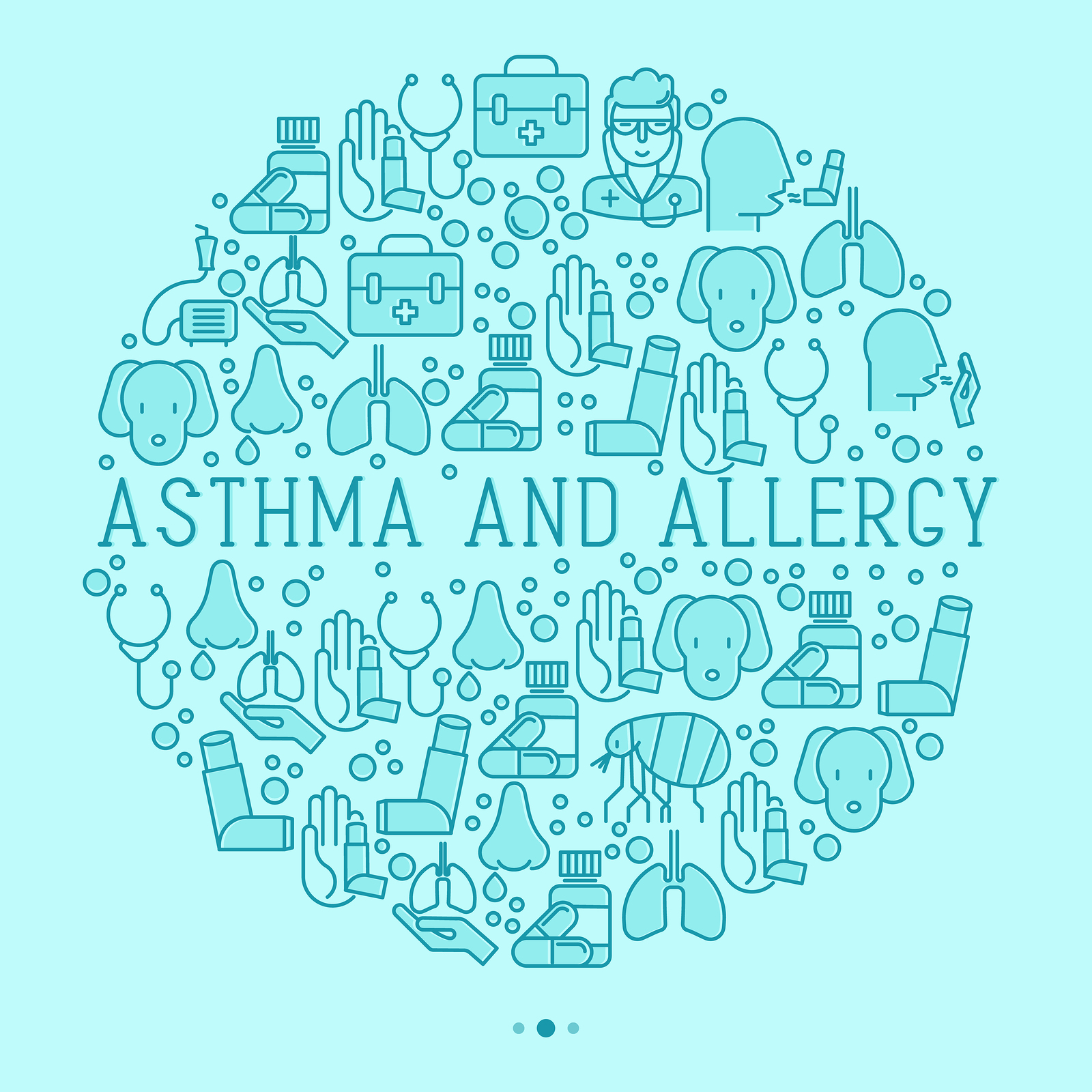 Asthma and allergy concept in circle, thin line icons with allergy symptoms and the most common allergens. Forest Medical Spirometer Calibration