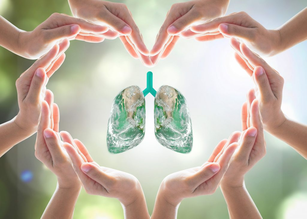 Medical Equipment Calibration - World no tobacco day campaign, lung in heart-shaped hand protection health care design logo concept. Element of this image furnished by NASA