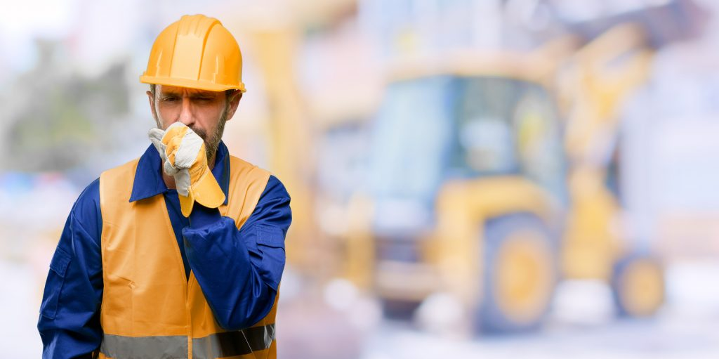Medical Equipment Calibration - Senior engineer man, construction worker sick and coughing, suffering asthma or bronchitis, medicine concept at work