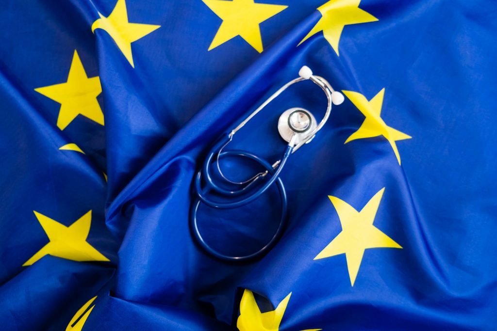 Stethoscope With European Union Flag. Concept Of The Health Of E