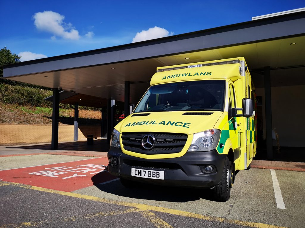 Swansea, Uk: September 25, 2018: Ambulance Parked At The Acciden